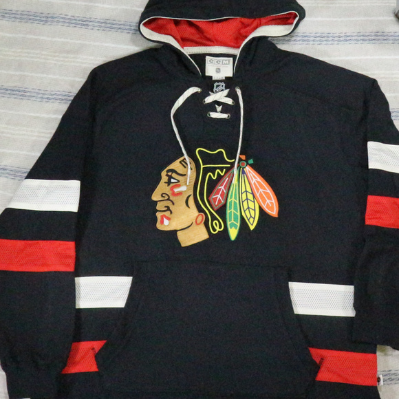 best authentic bfc9b 80082 New CHICAGO BLACKHAWKS CCM Jersey Pullover Hoodie NWT